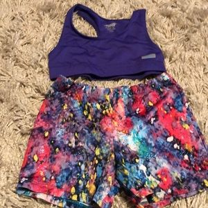 Girls sports bra and athletic dance shorts 10/12